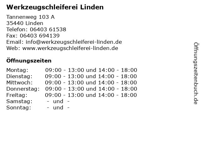 Werkzeugschleiferei Linden in Linden: Adresse und Öffnungszeiten