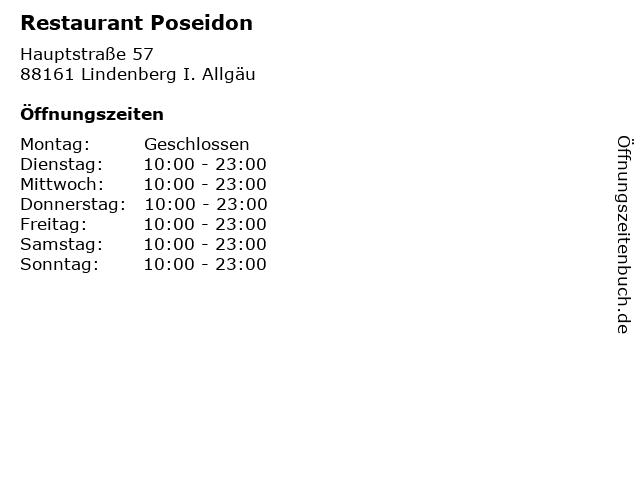 Restaurant Poseidon in Lindenberg I. Allgäu: Adresse und Öffnungszeiten