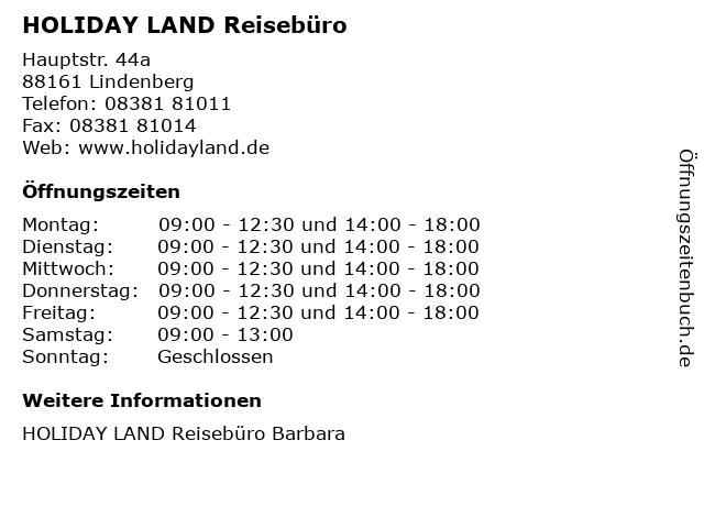HOLIDAY LAND Reisebüro in Lindenberg: Adresse und Öffnungszeiten