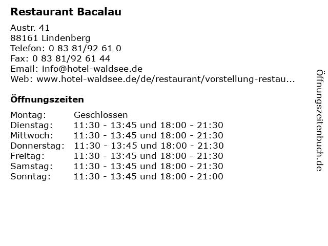 Restaurant Bacalau in Lindenberg: Adresse und Öffnungszeiten
