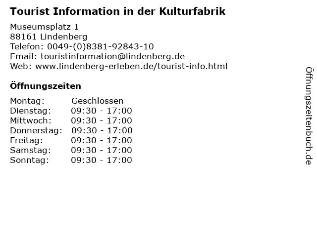 Tourist Information in der Kulturfabrik in Lindenberg: Adresse und Öffnungszeiten
