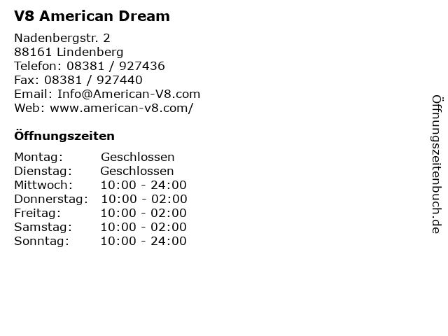 V8 American Dream in Lindenberg: Adresse und Öffnungszeiten