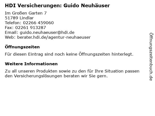 ᐅ Offnungszeiten Hdi Versicherung Ag Guido Neuhauser Im