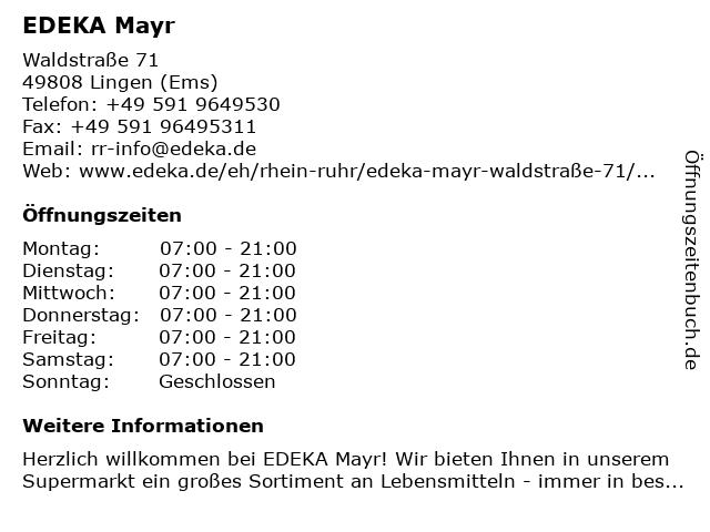 EDEKA Mayr in Lingen (Ems): Adresse und Öffnungszeiten