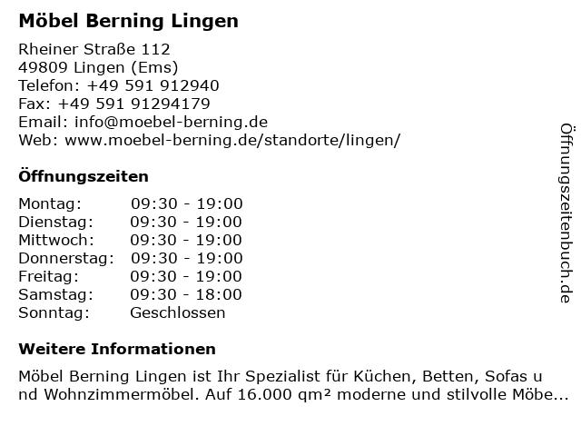 ᐅ öffnungszeiten Möbel Berning Lingen Rheiner Straße 112 In