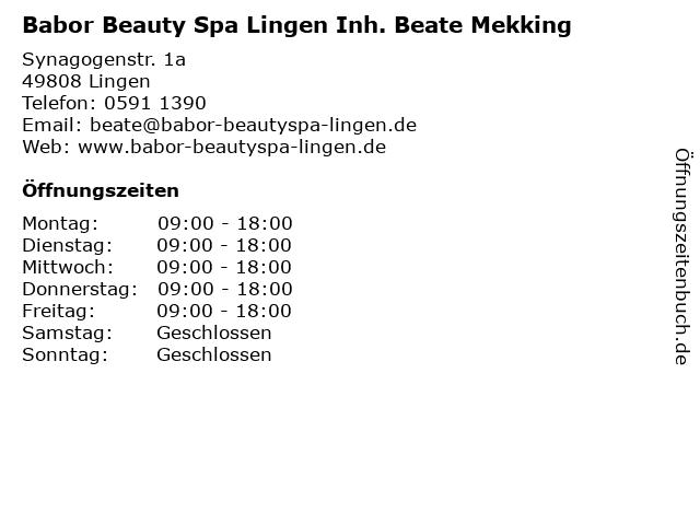 Babor Beauty Spa Lingen Inh. Beate Mekking in Lingen: Adresse und Öffnungszeiten