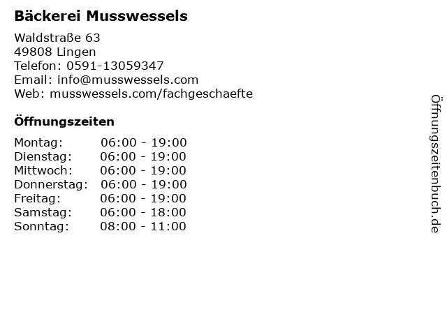 Bäckerei Musswessels in Lingen: Adresse und Öffnungszeiten