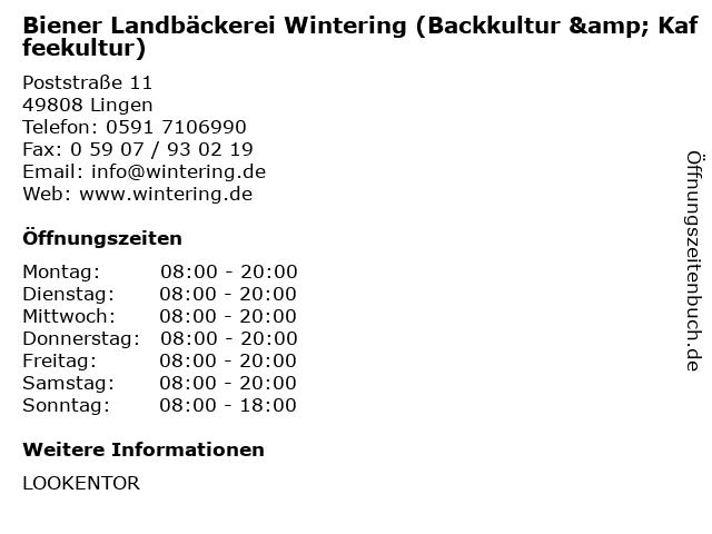 Biener Landbäckerei Wintering (Backkultur & Kaffeekultur) in Lingen: Adresse und Öffnungszeiten
