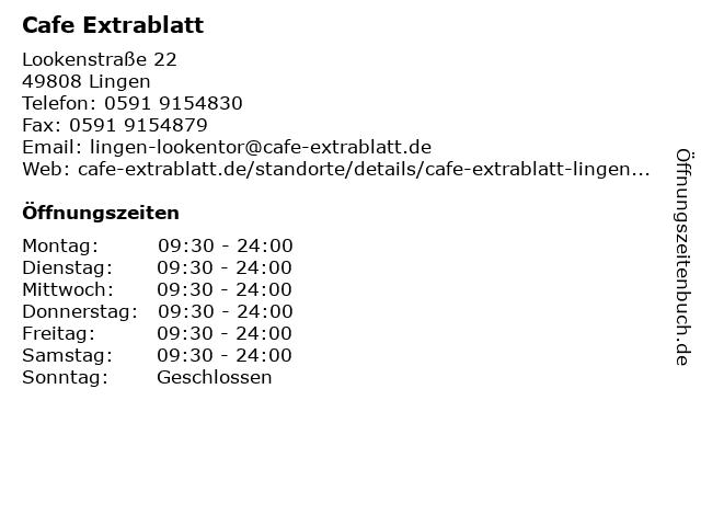 Cafe Extrablatt in Lingen: Adresse und Öffnungszeiten