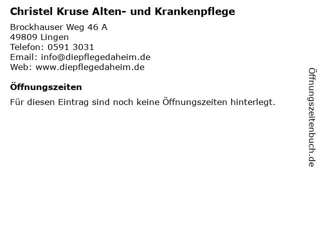Christel Kruse Alten- und Krankenpflege in Lingen: Adresse und Öffnungszeiten