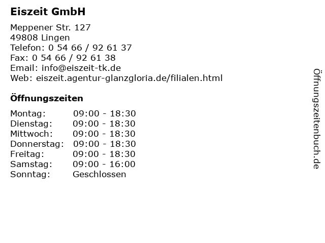 Eiszeit GmbH in Lingen: Adresse und Öffnungszeiten