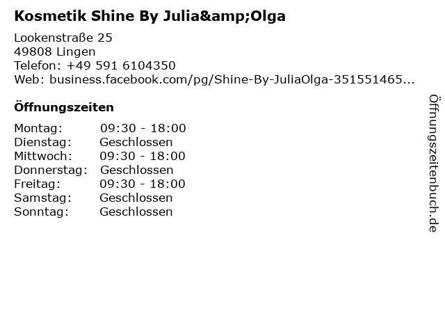 Kosmetik Shine By Julia&Olga in Lingen: Adresse und Öffnungszeiten