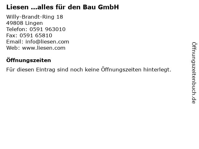 ᐅ Offnungszeiten Liesen Alles Fur Den Bau Gmbh Willy Brandt