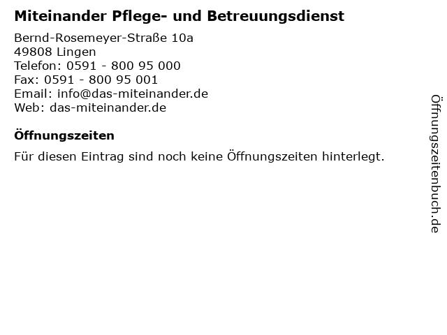 Miteinander Pflege- und Betreuungsdienst in Lingen: Adresse und Öffnungszeiten