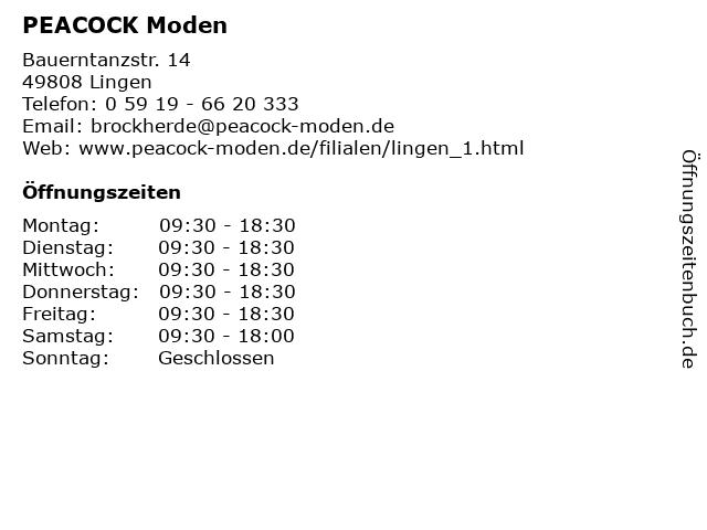 PEACOCK Moden in Lingen: Adresse und Öffnungszeiten