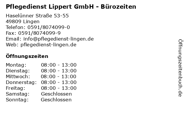 Pflegedienst Lippert GmbH - Bürozeiten in Lingen: Adresse und Öffnungszeiten