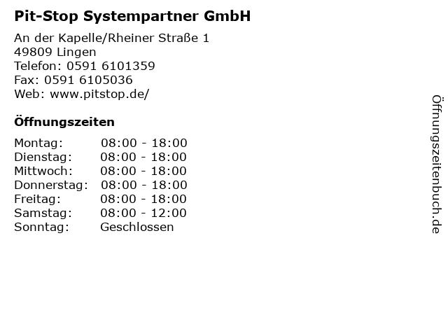 Pit-Stop Systempartner GmbH in Lingen: Adresse und Öffnungszeiten