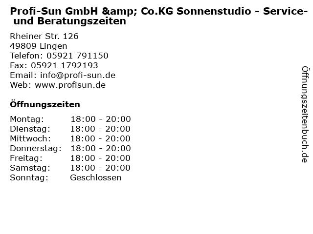 Profi-Sun GmbH & Co.KG Sonnenstudio - Service- und Beratungszeiten in Lingen: Adresse und Öffnungszeiten