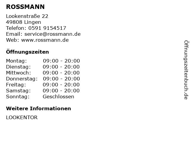ROSSMANN in Lingen: Adresse und Öffnungszeiten
