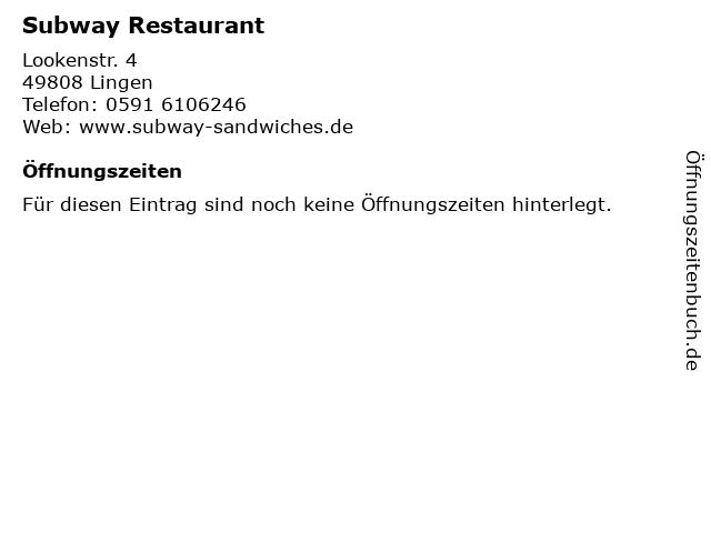 Subway Restaurant in Lingen: Adresse und Öffnungszeiten