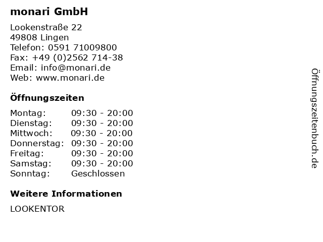 monari GmbH in Lingen: Adresse und Öffnungszeiten