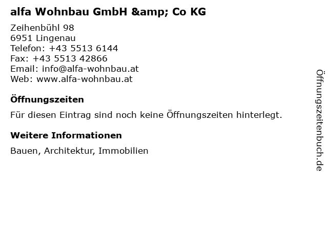 alfa Wohnbau GmbH & Co KG in Lingenau: Adresse und Öffnungszeiten