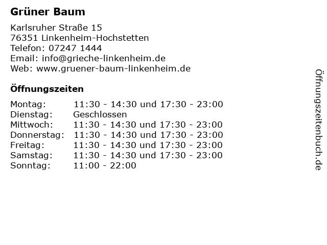 Grüner Baum in Linkenheim-Hochstetten: Adresse und Öffnungszeiten