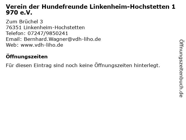 Verein der Hundefreunde Linkenheim-Hochstetten 1970 e.V. in Linkenheim-Hochstetten: Adresse und Öffnungszeiten