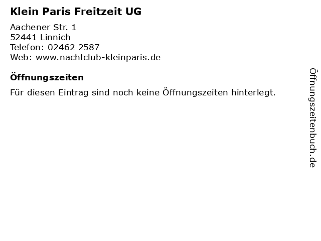 Klein Paris Freitzeit UG in Linnich: Adresse und Öffnungszeiten