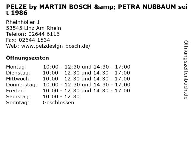 PELZE by MARTIN BOSCH & PETRA NUßBAUM seit 1986 in Linz Am Rhein: Adresse und Öffnungszeiten