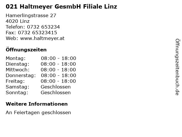021 Haltmeyer GesmbH Filiale Linz in Linz: Adresse und Öffnungszeiten