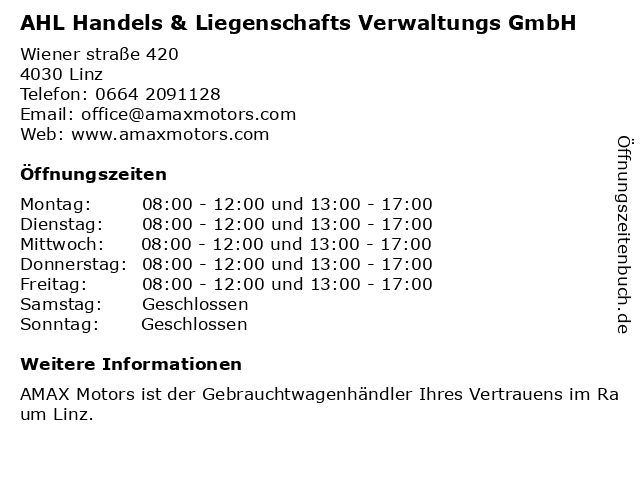 AHL Handels & Liegenschafts Verwaltungs GmbH in Linz: Adresse und Öffnungszeiten