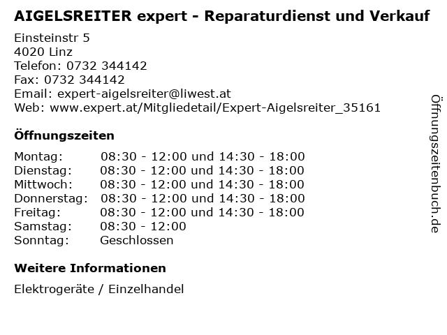 AIGELSREITER expert - Reparaturdienst und Verkauf in Linz: Adresse und Öffnungszeiten