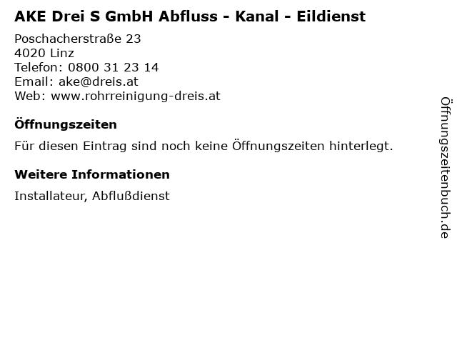 AKE Drei S GmbH Abfluss - Kanal - Eildienst in Linz: Adresse und Öffnungszeiten