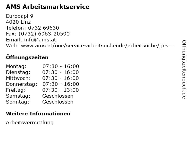 AMS Arbeitsmarktservice in Linz: Adresse und Öffnungszeiten