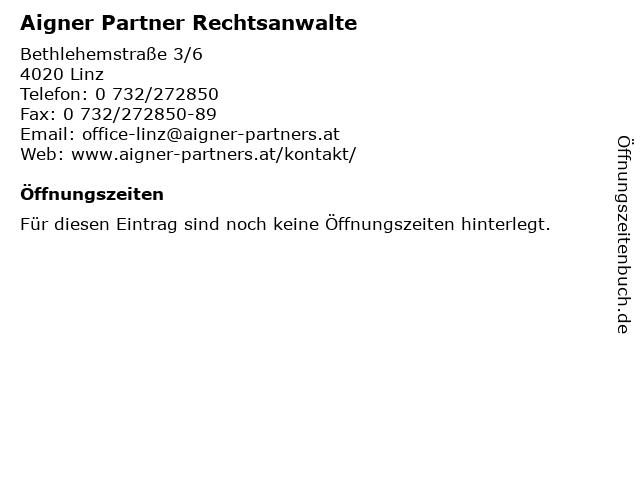 Aigner Partner Rechtsanwalte in Linz: Adresse und Öffnungszeiten