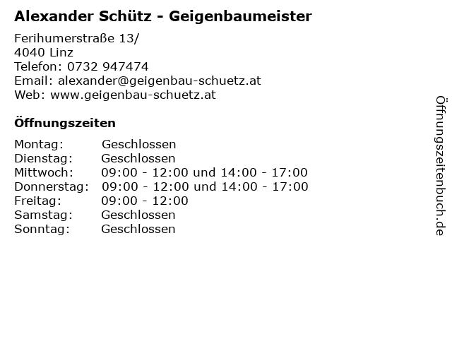 Alexander Schütz - Geigenbaumeister in Linz: Adresse und Öffnungszeiten