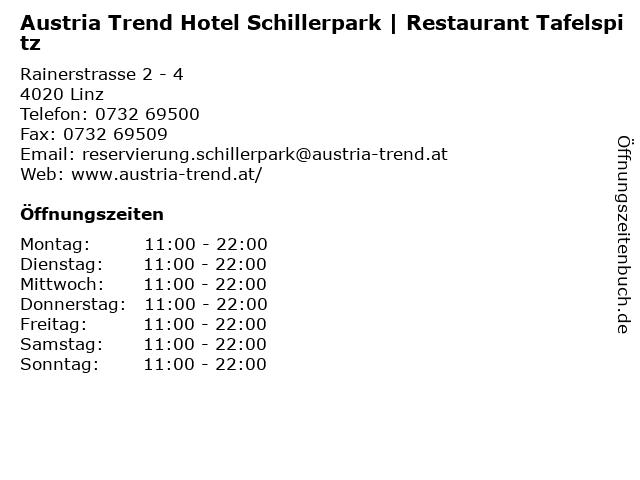 Austria Trend Hotel Schillerpark | Restaurant Tafelspitz in Linz: Adresse und Öffnungszeiten