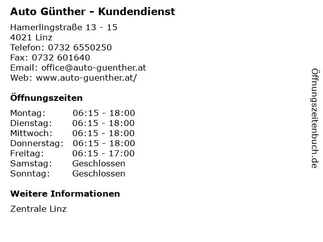 Auto Günther - Kundendienst in Linz: Adresse und Öffnungszeiten