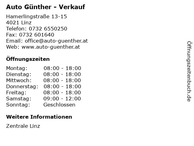 Auto Günther - Verkauf in Linz: Adresse und Öffnungszeiten