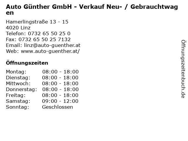 Auto Günther GmbH - Verkauf Neu- / Gebrauchtwagen in Linz: Adresse und Öffnungszeiten