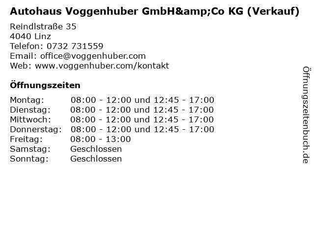 Autohaus Voggenhuber GmbH&Co KG (Verkauf) in Linz: Adresse und Öffnungszeiten