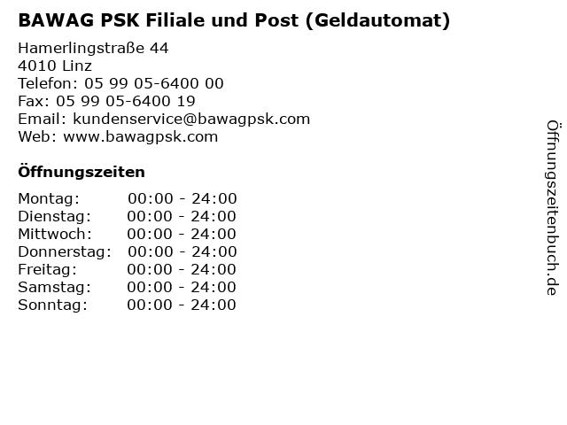 BAWAG PSK Filiale und Post (Geldautomat) in Linz: Adresse und Öffnungszeiten