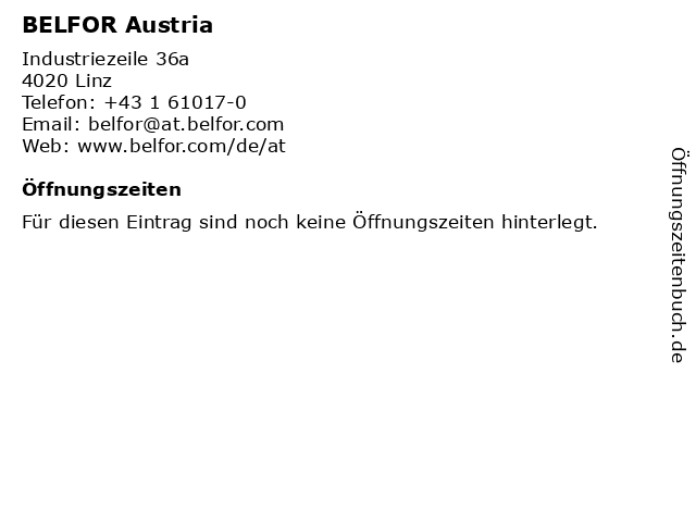 BELFOR Austria in Linz: Adresse und Öffnungszeiten