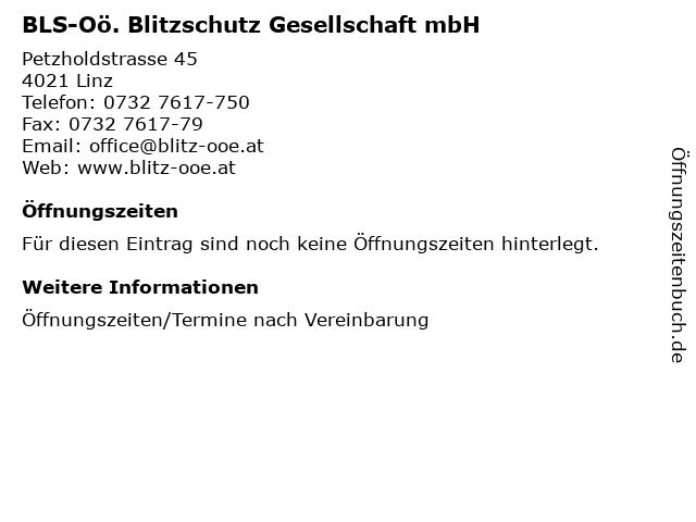 BLS-Oö. Blitzschutz Gesellschaft mbH in Linz: Adresse und Öffnungszeiten