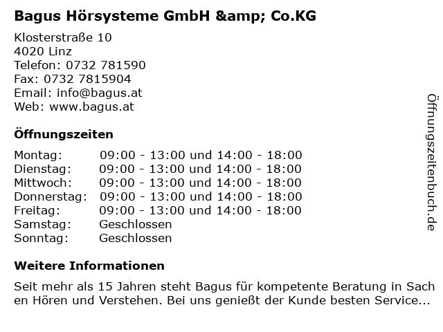 Bagus Hörsysteme GmbH & Co.KG in Linz: Adresse und Öffnungszeiten