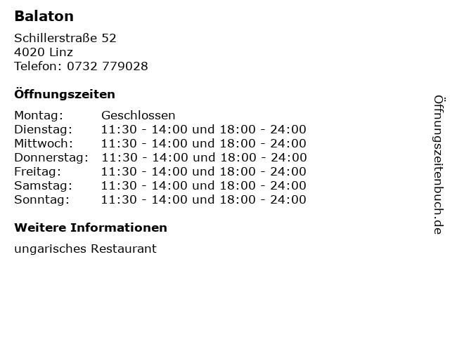 Balaton in Linz: Adresse und Öffnungszeiten