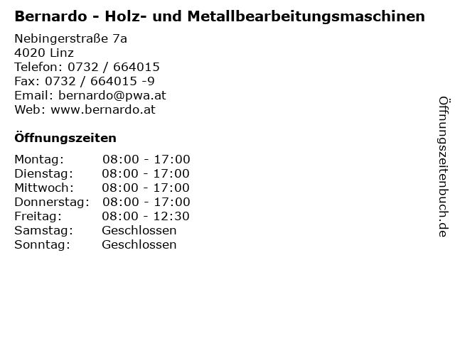 Bernardo - Holz- und Metallbearbeitungsmaschinen in Linz: Adresse und Öffnungszeiten