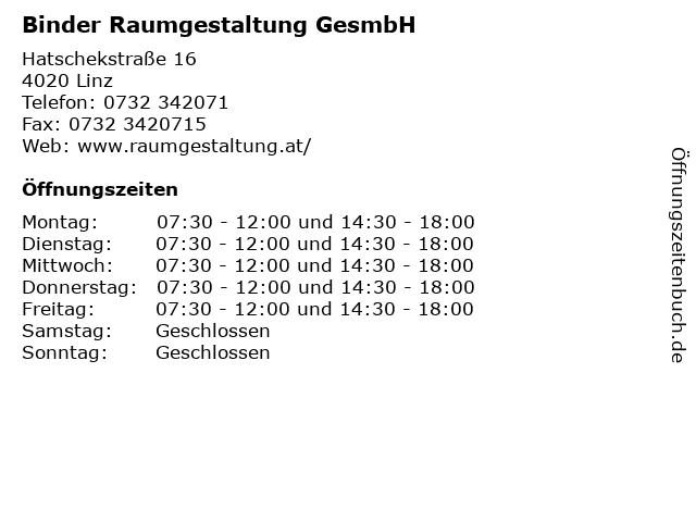 Binder Raumgestaltung GesmbH in Linz: Adresse und Öffnungszeiten