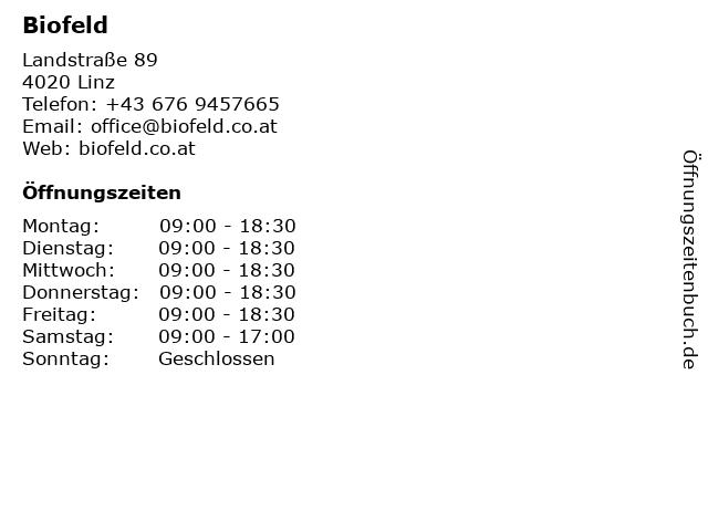 Biofeld in Linz: Adresse und Öffnungszeiten